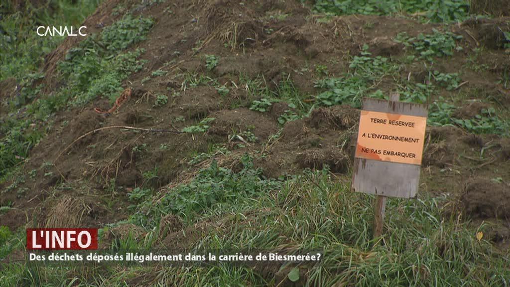 Des déchets déposés illégalement dans la carrière de Biesmerée?