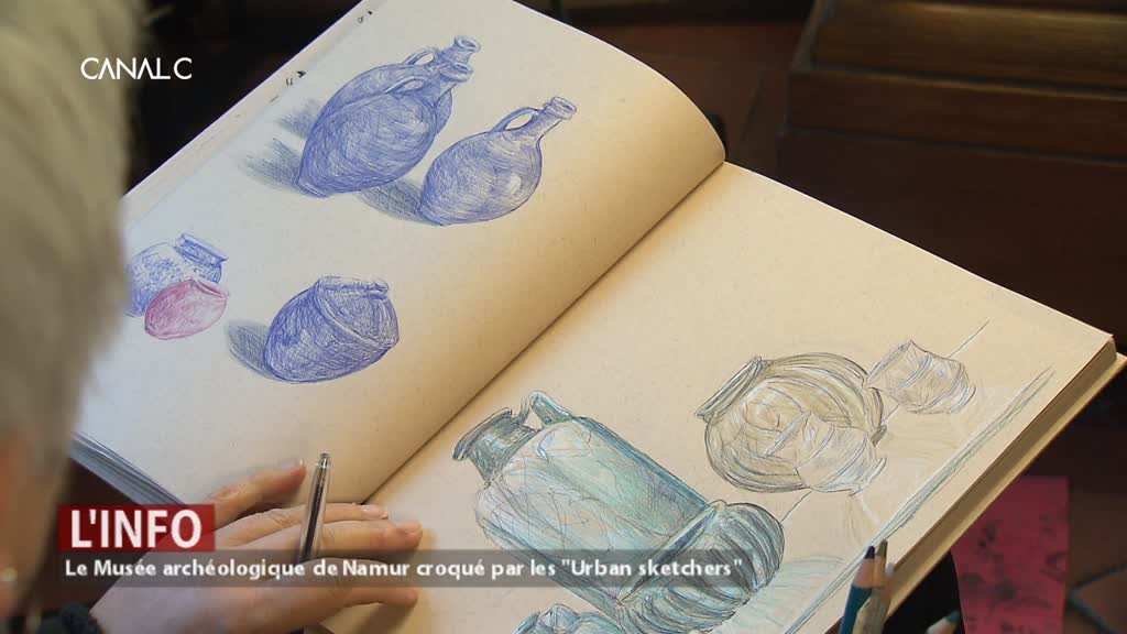 """Le Musée archéologique croqué par les """"Urban sketchers"""""""