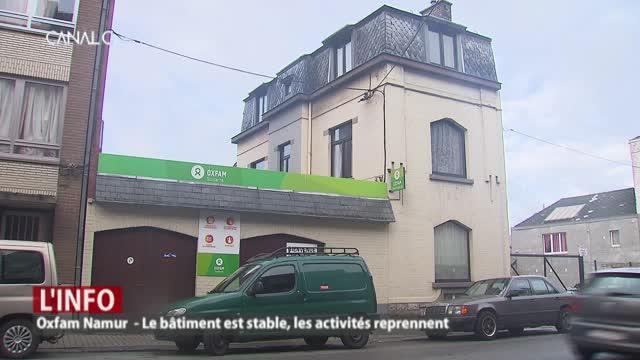 Oxfam Namur : Le bâtiment est stable, les activités reprennent