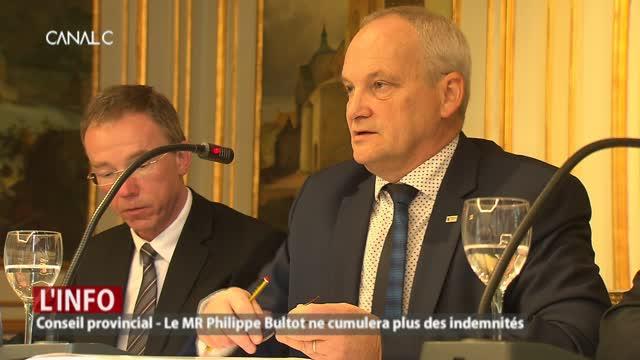 Conseil provincial: le MR Philippe Bultot ne cumulera plus des indemnités!