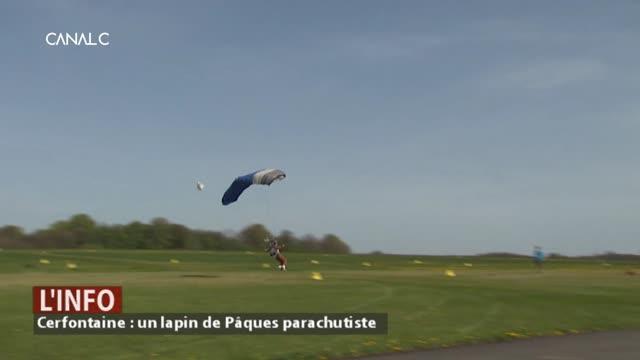 Cerfontaine : Un lapin de Pâques parachutiste