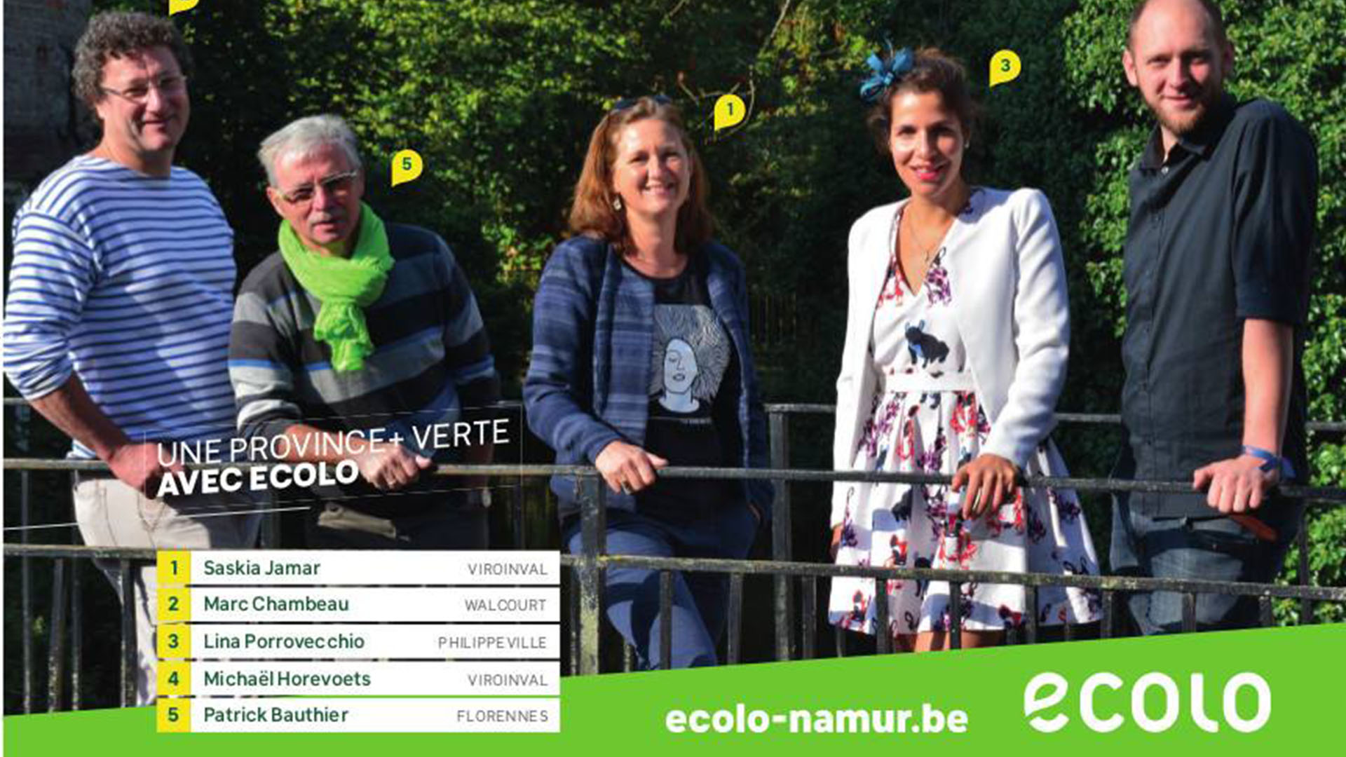 Photo des candidats Ecolo pour les provinciales district de Philippeville