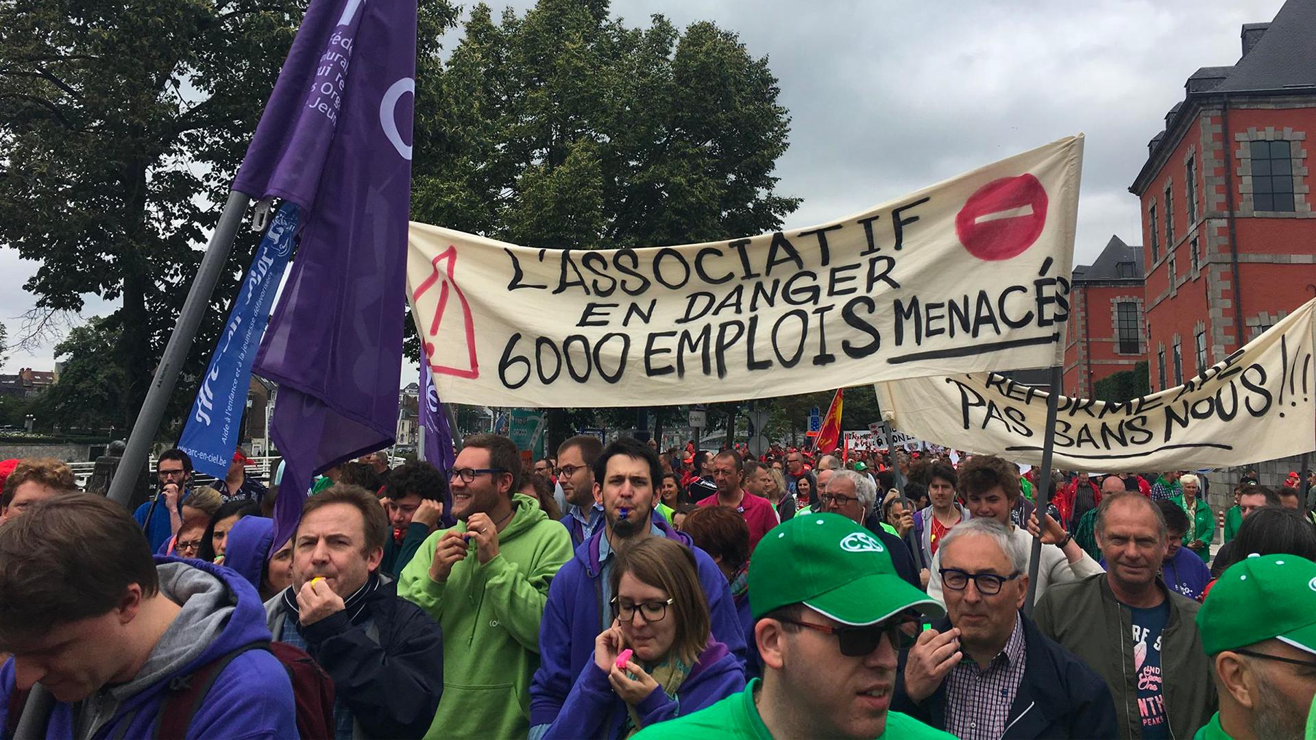 Manifestation contre la politique de l'emploi du gouvernement wallon